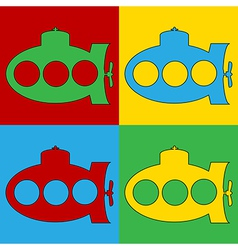Pop art submarine icons vector