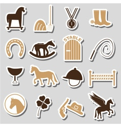 Brown simple horse theme stickers icons set eps10 vector