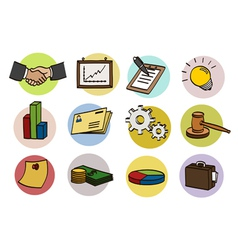 Business doodle icon set vector