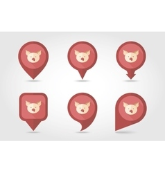 Pig mapping pins icons vector