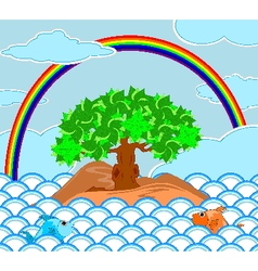 tree on the island at sea with rainbow on the sky vector image