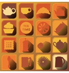Set of 16 icons tea time brown tones vector