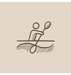 Man kayaking sketch icon vector