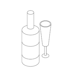 Wine bottle and wine glass icon isometric 3d style vector