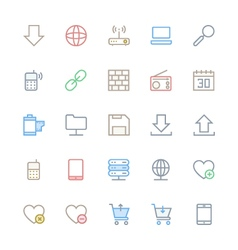 User interface colored line icons 14 vector