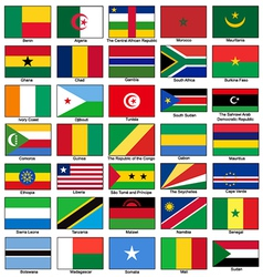 Africa flags set vector