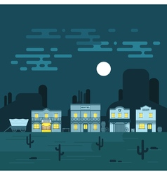 an old western town at night Saloon hotel and vector image
