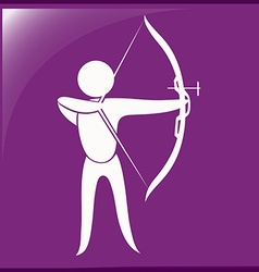 Archery icon on purple background vector image vector image