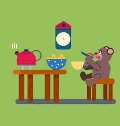Cartoon brown bear drinks tea vector