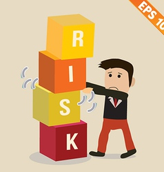 Cartoon businessman with risk management concept - vector