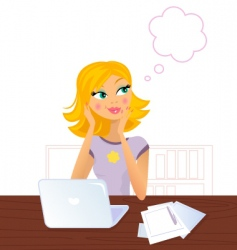 Daydreaming office woman vector