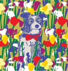 Dog in flowers happy animal nature vector image vector image