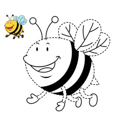 educational game for kids and coloring book-bee vector image vector image