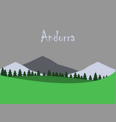 flat icons on theme of andorra landscape vector image