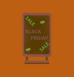 Flat shading style icon signboard black friday vector