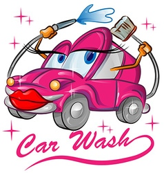 fun red sexy car wash cartoon vector image