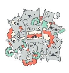 Funny cat doodles vector image