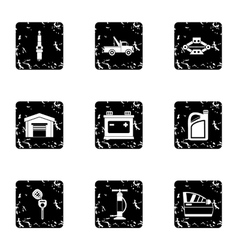 Garage icons set grunge style vector