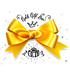 gold gift bow satin isolated red glamour bow for vector image vector image