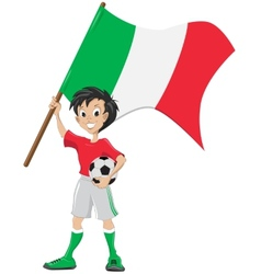 Happy soccer fan holds italia flag vector