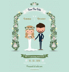 Hipster wedding invitation card bride groom vector