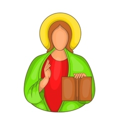 Jesus icon in cartoon style vector image