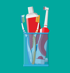 manual and electric toothbrush toothpaste glass vector image