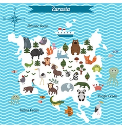 Map of eurasia continent with different animals vector