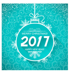 Merry christmas and new year blue card background vector