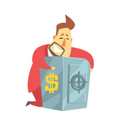 Millionaire rich man hugging his metal safe money vector