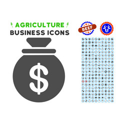 Money bag icon with agriculture set vector