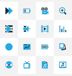 Multimedia colorful icons set collection of chart vector