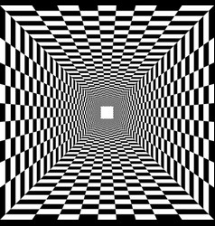 Psychedelic tunnel chessboard pattern vector