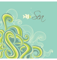Retro sea waves marine background vector image vector image