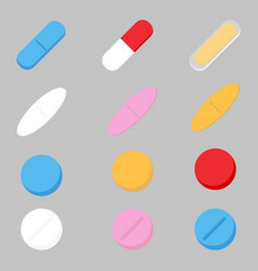 set of color medicine painkiller vector image