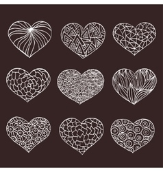 Set of hand drawn hearts Ornate ink drawing vector image vector image