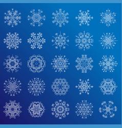 set of minimalistic line geometrical snowflakes vector image