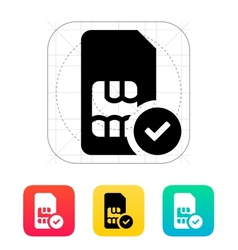 SIM card with accept sign icon vector image vector image