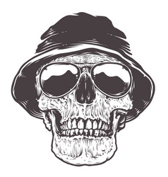 Skull in hat and sunglasses vector