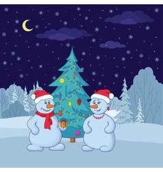 snowballs and christmas tree vector image vector image