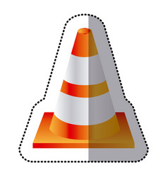 Sticker realistic striped traffic cone flat icon vector