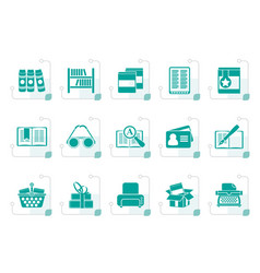 Stylized library and books icons vector
