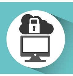 Technology monitor pc cloud security vector