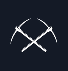 two crossed pickaxes vector image