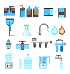 Water filtration flat icons vector
