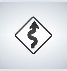 winding curve road sign vector image