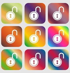 Open lock icon vector