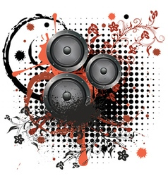 Sound speaker with floral2 vector