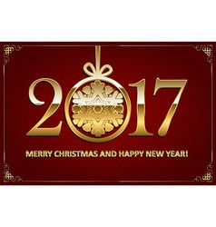 Happy new year and merry christmas 2017 vector