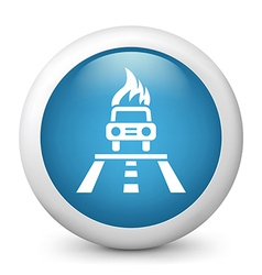 Car accident glossy icon vector